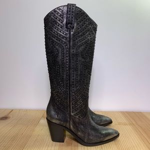 Frye Faye Stud Pull On Size 9 Anthracite Western